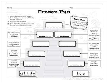 Frozen Fun: Word-Building Pyramid Puzzle - Printable Worksheet