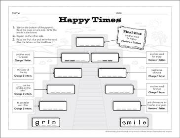 Happy Times: Word-Building Pyramid Puzzle - Printable Worksheet
