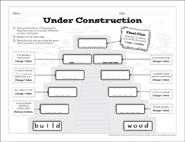 Under Construction: Word-Building Pyramid Puzzle - Printable Worksheet