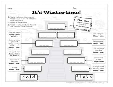 It's Wintertime!: Word-Building Pyramid Puzzle - Printable Worksheet