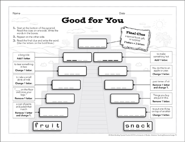 Good for You: Word-Building Pyramid Puzzle - Printable Worksheet