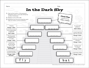 In the Dark Sky: Word-Building Pyramid Puzzle - Printable Worksheet