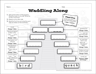 Waddling Along: Word-Building Pyramid Puzzle - Printable Worksheet