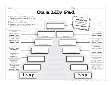 On a Lily Pad: Word-Building Pyramid Puzzle - Printable Worksheet