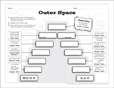 Outer Space: Word-Building Pyramid Puzzle - Printable Worksheet