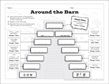 Around the Barn: Word-Building Pyramid Puzzle - Printable Worksheet