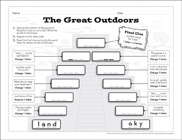 The Great Outdoors: Word-Building Pyramid Puzzle - Printable Worksheet