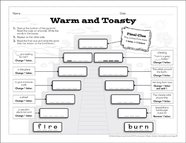 Warm and Toasty: Word-Building Pyramid Puzzle - Printable Worksheet