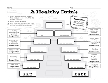 A Healthy Drink: Word-Building Pyramid Puzzle - Printable Worksheet