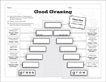 Good Grazing: Word-Building Pyramid Puzzle - Printable Worksheet