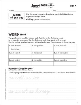 Independent Practice: Grade 3 Reading Jumpstart 40 - Printable Worksheet