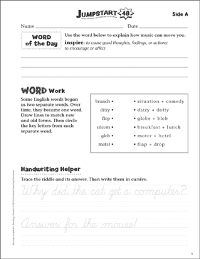 Independent Practice: Grade 3 Reading Jumpstart 48 - Printable Worksheet