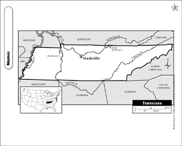 graphic about Printable Map of Tennessee named Map of Tennessee Printable Maps
