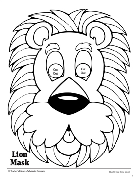 photo relating to Printable Lion Masks known as Lion: Mask Behavior Printable Arts and Crafts