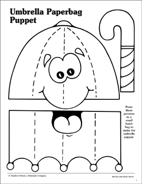 picture regarding Umbrella Pattern Printable referred to as Umbrella: Paper Bag Puppet Routine Printable Arts, Crafts