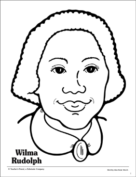 Wilma Rudolph Portrait Pattern Printable Coloring Pages