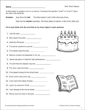 Direct Objects: 6th Grade Reading Skills | Printable Skills