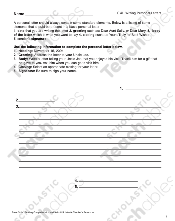 Writing Personal Letters 6th Grade Reading Skills Printable