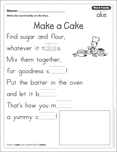 Make a Cake (Word Family -ake): Word Family Poetry Page ...
