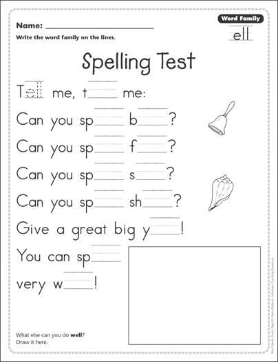image regarding Printable Spelling Test referred to as Spelling Verify (Phrase Household -ell): Phrase Family members Poetry Webpage