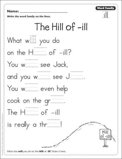 image regarding Word Families Printable known as The Hill of -sick (Phrase Family members -unwell): Term Relatives Poetry Web site