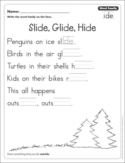 slide glide hide word family ide word family poetry page printable skills sheets. Black Bedroom Furniture Sets. Home Design Ideas
