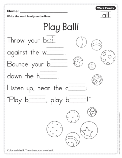 play ball word family all word family poetry page printable skills sheets. Black Bedroom Furniture Sets. Home Design Ideas