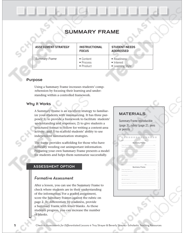 Summary Frame: Wrap-Up Assessment | Printable Assessment Tools ...
