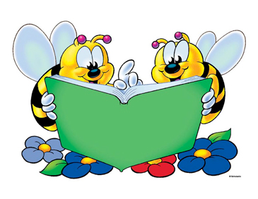 Two Bees with Green Book - Image Clip Art