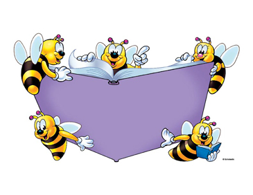 Five Bees with Purple Book - Image Clip Art