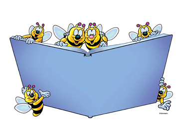 Six Bees with Purple Book - Image Clip Art