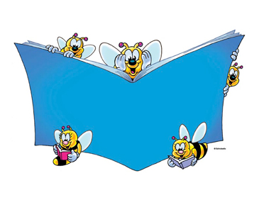Five Bees with Blue Book - Image Clip Art