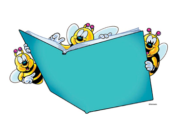 Three Bees With Teal Book - Image Clip Art