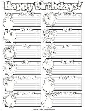 happy birthdays chart printable labels name tags and skills sheets. Black Bedroom Furniture Sets. Home Design Ideas