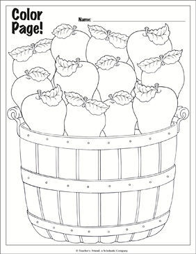 Country Apple Coloring Page - Printable Worksheet