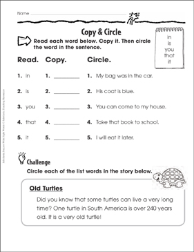 Copy & Circle (in, is, you, that, it): Sight Words Practice - Printable Worksheet