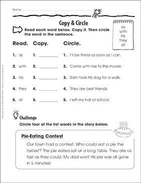 Copy & Circle (as, with, his, they, at): Sight Words Practice - Printable Worksheet
