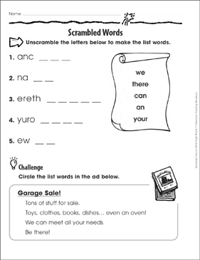 Scrambled Words (we, there, can, an, your): Sight Words Practice - Printable Worksheet