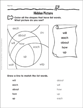 Hidden Picture (will, each, about, how, up): Sight Words Practice - Printable Worksheet
