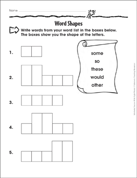 Word Shapes (some, so, these, would, other): Sight Words Practice - Printable Worksheet