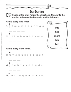 Star Starters (into, has, more, her, two): Sight Words Practice - Printable Worksheet