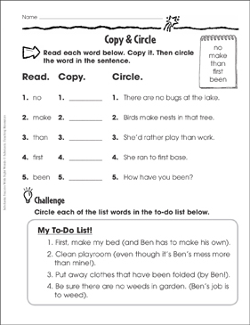 Copy & Circle (no, make, than, first, been): Sight Words Practice - Printable Worksheet
