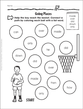 Going Places (made, over, did, down, only): Sight Words Practice - Printable Worksheet