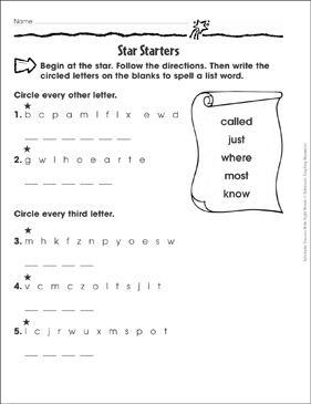 Star Starters (called, just, where, most, know): Sight Words Practice - Printable Worksheet