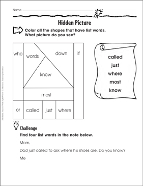 Hidden Picture (called, just, where, most, know): Sight Words Practice - Printable Worksheet