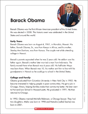 Barack Obama: Text & Organizer - Printable Worksheet