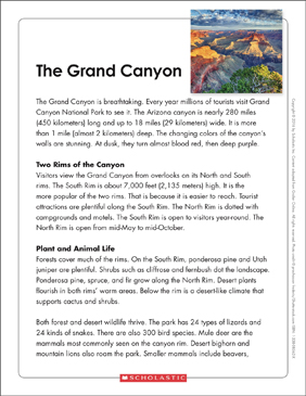 The Grand Canyon: Text & Organizer - Printable Worksheet