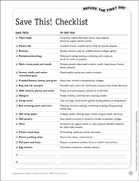 Ask Parents to Save This! Checklist: Before the First Day - Printable Worksheet
