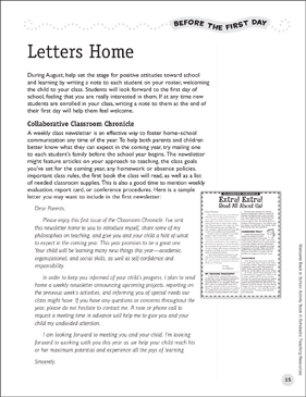 Back-to-School Letters to Students and Parents: Before the First Day - Printable Worksheet