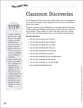 Classroom Discoveries - Back-to-School Activity - Printable Worksheet